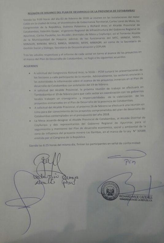 Acta de la reunión del pasado viernes, con participación únicamente de representantes del Estado